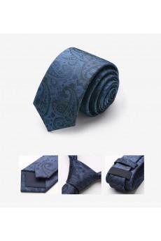 Blue Floral 100% Silk Skinny Tie