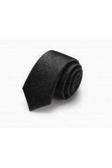 Black Floral 100% Silk Skinny Tie