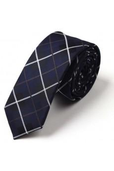 Blue Checkered Microfiber Skinny Tie
