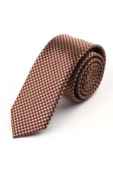 Brown Floral Microfiber Skinny Tie