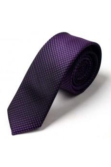 Purple Checkered Microfiber Skinny Tie