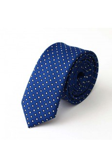 Blue Polka Dot Polyester Skinny Tie
