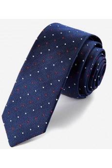 Blue Polka Dot 100% Silk Skinny Tie