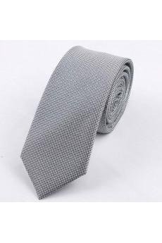 Gray Polka Dot Polyester Skinny Tie