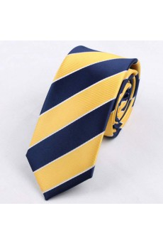 Yellow Striped Polyester Skinny Tie
