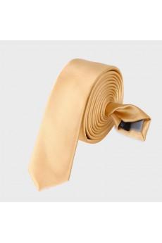 Yellow Solid Microfiber Skinny Tie