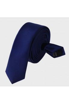 Blue Solid Microfiber Skinny Tie