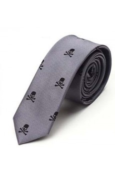 Gray Floral Microfiber Skinny Tie
