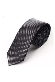 Gray Polka Dot Microfiber Skinny Tie