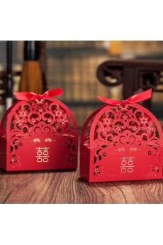 Red Color Exquisite Card Paper Wedding Favor Boxes (12 Pieces/Set)