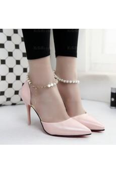 Ladies Pink Stiletto Heel Party Shoes (High Heel)