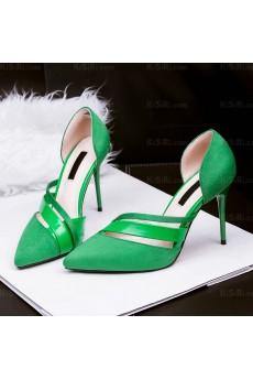 Women's Green Stiletto Heel Party Shoes (High Heel)