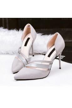 Women's Grey Stiletto Heel Party Shoes (High Heel)