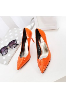 Women's Orange Stiletto Heel Party Shoes (Mid Heel)