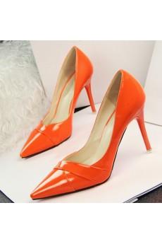 Cheap Orange Stiletto Heel Prom Shoes (Mid Heel)