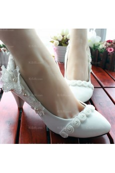 Best White Lace Bridal Wedding Shoes with Pearl and Flower