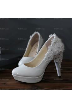 White Lace Bridal Wedding Shoes with Rhinestone