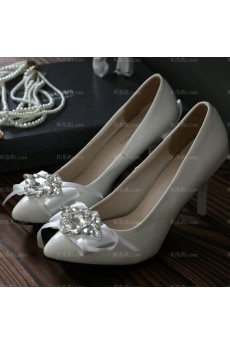 Elegant White Wedding Bridal Shoes with Rhinestone and Ribbons